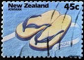 A stamp printed in New Zealand shows jandals Kiwiana series