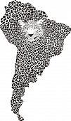 Jaguar de camuflaje en el mapa de America.eps del sur