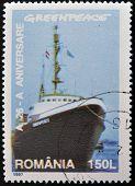 Un sello imprimido por Rumania muestra Greenpeace
