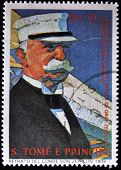 A stamp printed in Saint Tome e Principe showing portrait of Graf Zeppelin