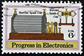 stamp printed in USA shows Marconi spark coil and marconi spark gap