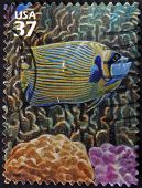 A stamp printed in USA showsEmperor Angelfish