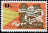 United States Of America - Circa 1977: A Stamp Printed In Usa Shows Movie Projector And Phonograph