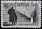 United States Of America - Circa 1960: A Stamp Printed In Usa Honoring World Refugee Year, Circa 196