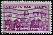 A stamp printed in the USA dedicated to Armed Forces Reserve
