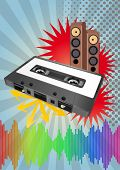 foto of magnetic tape  - illustration of tape cassette with loudspeaker and vintage grafic - JPG