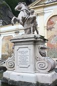 The horse tamer statue at the Horse well (Pferdeschwemme) in Salzburg, Austria