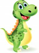 stock photo of lizards  - Vector illustration of Cute dinosaur cartoon isolated on white background - JPG