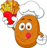 Chef batata cartoon segurando até A batata frita