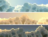 Horizontal Illustration Sunset, Sky And Clouds.