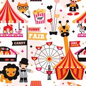 Seamless kids circus fun fair illustration fabric background pattern in vector