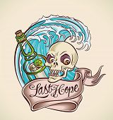 Vintage tattoo design with bottle, skull, banner and wave. Editable vector illustration.