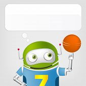 Cartoon Character Cute Robot Isolated on Grey Gradient Background. Basketball. Vector EPS 10.