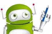Cartoon Character Cute Robot Isolated on Grey Gradient Background. Writer. Vector EPS 10.