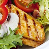 stock photo of rocket salad  - Grilled chicken salad - JPG