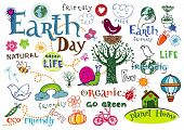 Earth day vector set - doodles and inscriptions