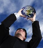 Business Man With Globe With Sky In The Background poster