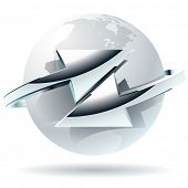 Transfer  abstract vector symbol with arrows. Arrow moves around of white globe