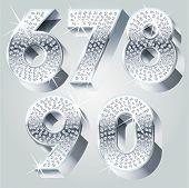 Chrome symbols inlaid of diamond crumbs. Numbers 6-0