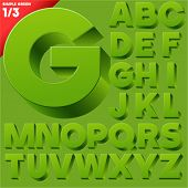 Vector alphabet of simple 3d letters. Sans bold. Upper cases Green