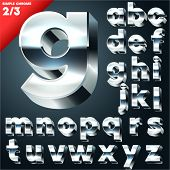 Vector alphabet of simple 3d letters. Sans bold. Small cases Chrome