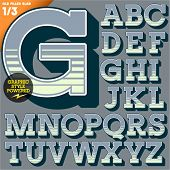 Vector illustration of an old fashioned alphabet. Vintage style. Deco filled