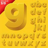 Vector alphabet of simple 3d letters. Sans bold. Small cases Yellow