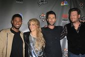 WEST HOLLYWOOD, CA - MAY 8:  Usher; Shakira; Adam Levine; Blake Shelton at the NBC's 'The Voice' Sea
