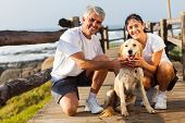 image of petting  - sporty middle aged couple and pet dog at the beach in the morning - JPG