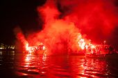 PELOPONNESE, GREECE- MAY 6: The ritual burning of Judas Iscariot at sea during the Orthodox Easter,