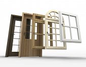 Selection of doors and windows with a white background