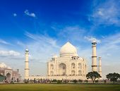 Taj Mahal. Indian Symbol - India travel background. Agra, India