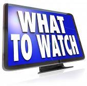 Die Worte was zu sehen auf einem HDTV-Fernseher Bildschirm vorschlagen Ideen für Unterhaltungsprogramme