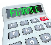 The word Finance on a plastic calculator to illustrate financial matters such as accounting, paying