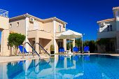 image of villa  - Exterior of a luxurious villa at Greek resort - JPG