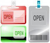 Open. Id cards. Raster illustration.