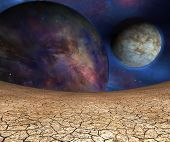 Planets and cracked earth