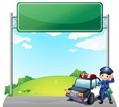 Illustration of a young policeman with his police car near an empty signage on a white background