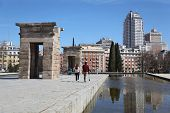 MADRID - MARCH 10: Tourists walk near Temple of Debod, on March 10 2012 in Madrid, Spain. People fro