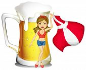 Illustration of a sexy lady with the flag of Denmark and a glass full of beer at the back on a white