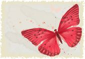 Background with red butterfly in watercolor technique. All objects are isolated. Butterfly is on a s