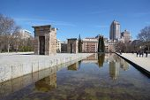 Temple of Debod at sunny day. It is ancient Egyptian temple which was rebuilt in Madrid, Spain.