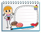 Illustration of a notebook with a drawing of a girl with a juice on a white background
