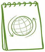 Illustration of a green notebook with a drawing of a globe at the cover page on a white background