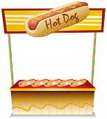 Illustration of a hotdog stand on a white background