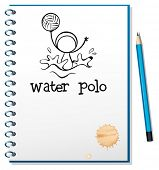 Illustration of a notebook with a drawing of a boy playing water polo on a white background