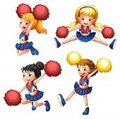 Illustration of the four cheerdancers with their pompoms on a white background