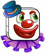 Illustration of a clown's face on a white background