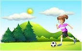 Illustration of a girl playing soccer