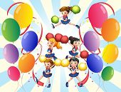 Illustration of the cheering squad in the middle of the balloons on a white background